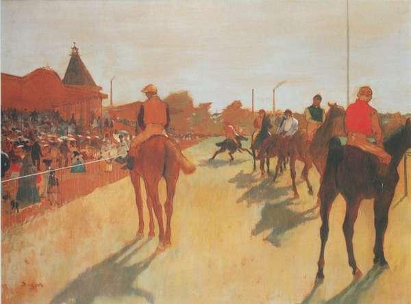 Edgar degas peint l 39 hippodrome du v sinet for Devant le miroir manet